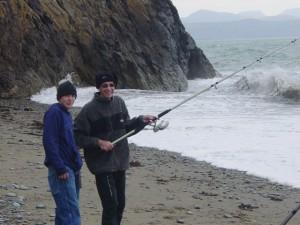 Shaun giving Bill fishing tips