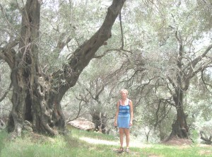 Sue in an old olive grove