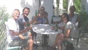 Beers in Hans' garden
