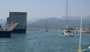 Passing by the bridge over the Lefkas canal