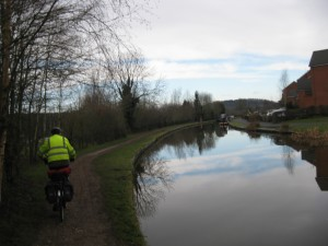 Cycling alone beside the Trent and Mersey Canal