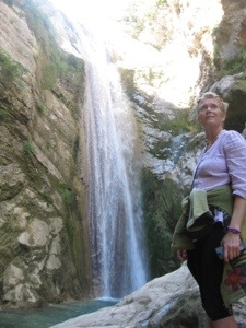 Sue at Nidri waterfall